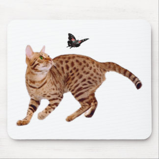 Ocicat Cat & Butterfly Mouse Pad