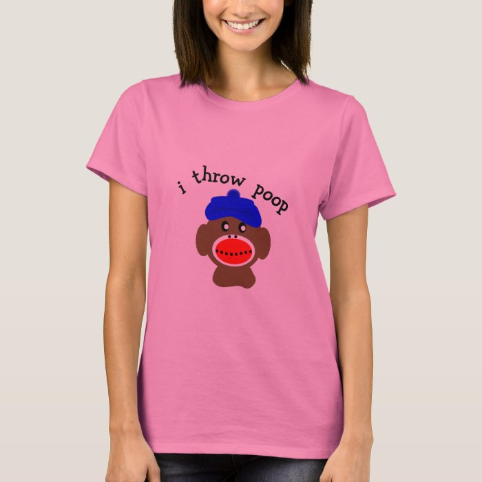 "ock Monkey ""I THROW POOP"" T-Shirt"