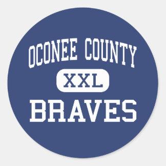 Oconee County Braves Middle Watkinsville Classic Round Sticker
