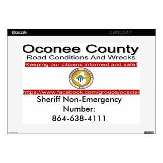 "Oconee County Road Conditions and Wrecks Novelties 15"" Laptop Skin"