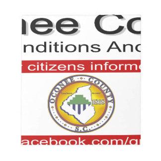 Oconee County Road Conditions and Wrecks Novelties Notepad