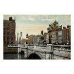 O'Connell Bridge, Dublin, Ireland 1915 Vintage Poster
