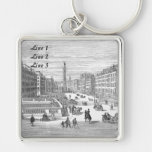 O'Connell Street Dublin Keychain Luggage Tag Silver-Colored Square Keychain