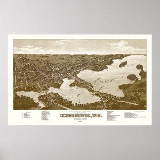 Oconomowoc, WI Panoramic Map - 1885 Poster