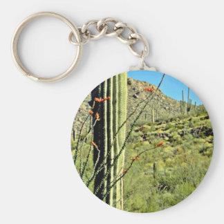 Ocotillo And Saguaro Cacti Keychain