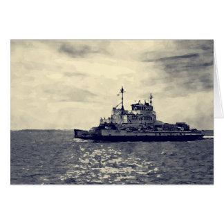 Ocracoke Ferry Digital Painting Card