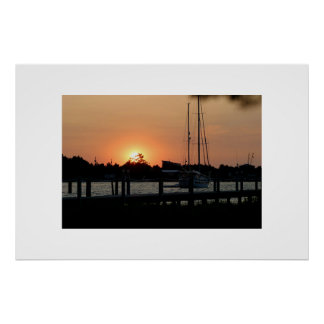 Ocracoke Harbor Sunset Poster