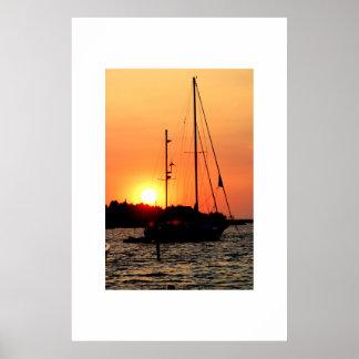 Ocracoke Harbor Sunset Poster
