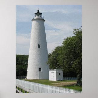 Ocracoke, impresión del faro de Carolina del Norte Póster