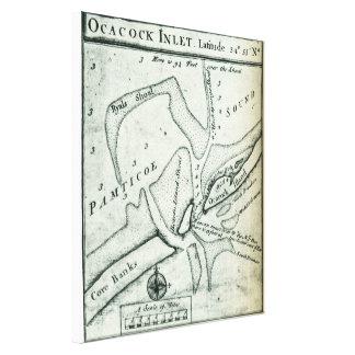 Ocracoke Inlet Map - Blackeard's Anchoring (1733) Canvas Print
