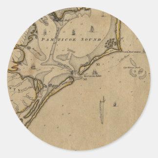 Ocracoke Inlet North Carolina 1775 Classic Round Sticker
