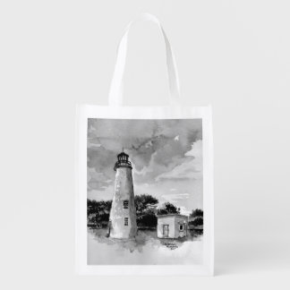 Ocracoke Island Lighthouse Reusable Bag Grocery Bags