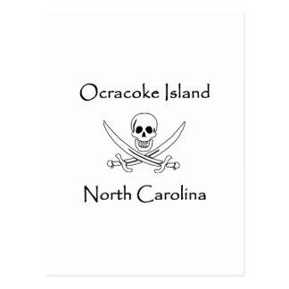 Ocracoke Island North Carolina Pirate Logo Postcard