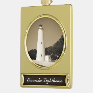 Ocracoke Lighthouse Gold Plated Banner Ornament