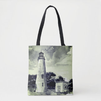 Ocracoke Lighthouse in Blue Tote Bag