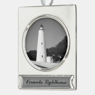 Ocracoke Lighthouse Silver Plated Banner Ornament
