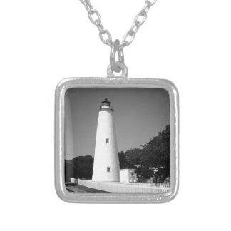 Ocracoke Lighthouse Silver Plated Necklace