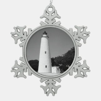 Ocracoke Lighthouse Snowflake Pewter Christmas Ornament