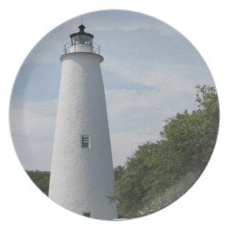 Ocracoke, placa del faro de Carolina del Norte Plato De Comida