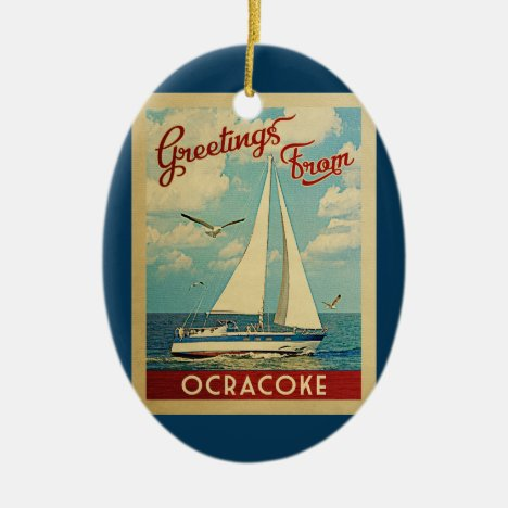 Ocracoke Sailboat Vintage Travel North Carolina Ceramic Ornament