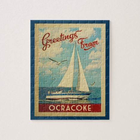 Ocracoke Sailboat Vintage Travel North Carolina Jigsaw Puzzle