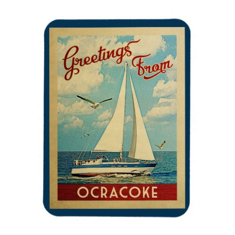 Ocracoke Sailboat Vintage Travel North Carolina Magnet