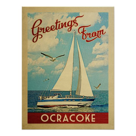 Ocracoke Sailboat Vintage Travel North Carolina Poster