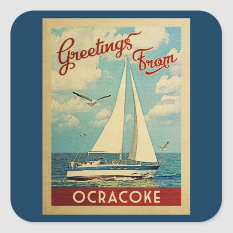 Ocracoke Sailboat Vintage Travel North Carolina Square Sticker