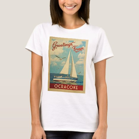 Ocracoke Sailboat Vintage Travel North Carolina T-Shirt