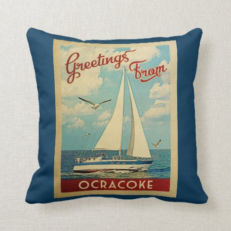 Ocracoke Sailboat Vintage Travel North Carolina Throw Pillow