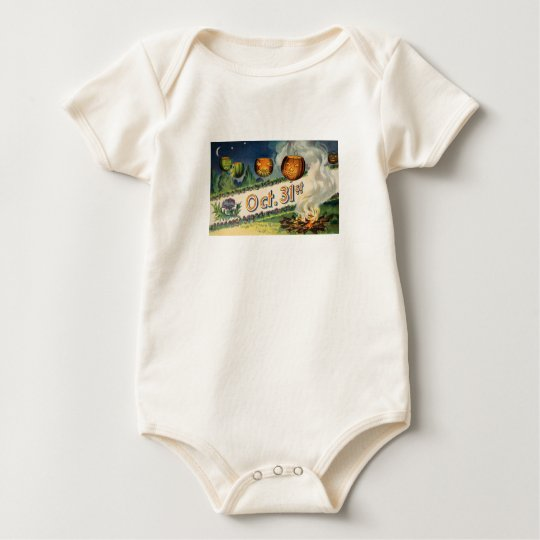 Oct 31st (Vintage Halloween Card) Baby Bodysuit