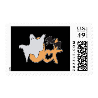 Oct Ghost and Bat Postage Stamps