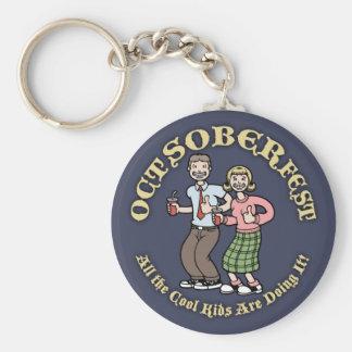 Oct-Sober-Fest Basic Round Button Keychain