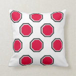 Octagon Pillow in Red and Black