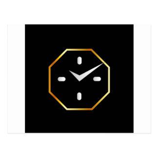 Octagon shaped wall clock graphic postcard