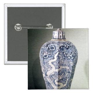 Octagonal 'Mei- P'ing' vase with white Pinback Button