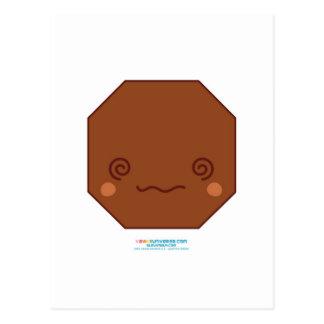 Octágono de Kawaii Brown Postales