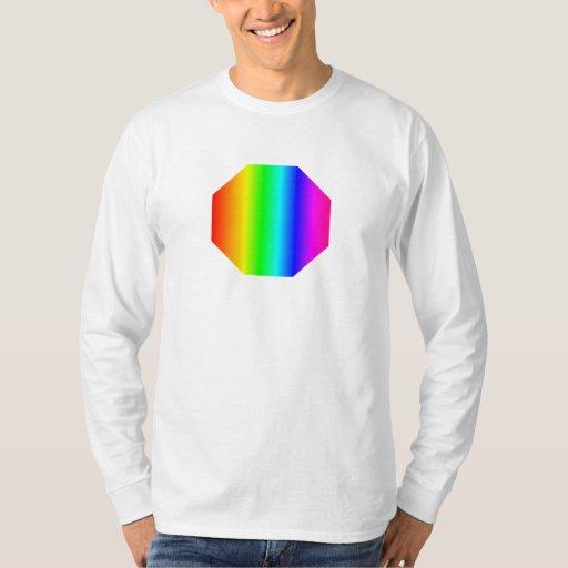 Octágono del arco iris remeras