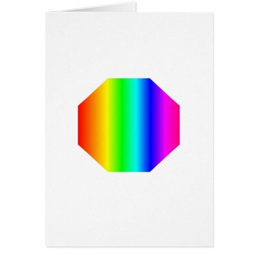 Octágono del arco iris tarjeta de felicitación