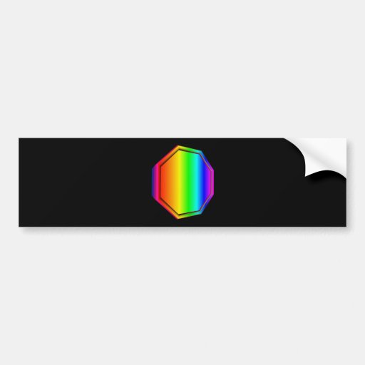 octágono tridimensional del arco iris etiqueta de parachoque