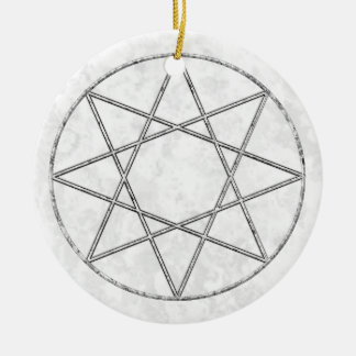 Octagram in Marble Ceramic Ornament