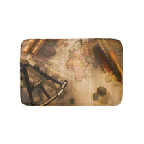 Octant, Compass And Telescope On Nautical Map Bathroom Mat