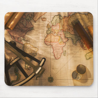 Octant, Compass And Telescope On Nautical Map Mouse Pad