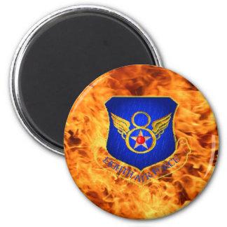Octava fuerza aérea en el fuego imán redondo 5 cm
