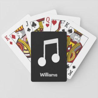 Octavas notas del blanco sobre fondo negro baraja de cartas