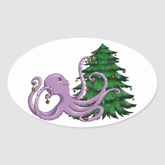 Octi Tree Oval Stickers