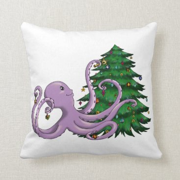 Christmas Themed Octi Tree Throw Pillow