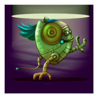 OCTO CUTE ROBOT ALIEN FUNNY PERFECT POSTER