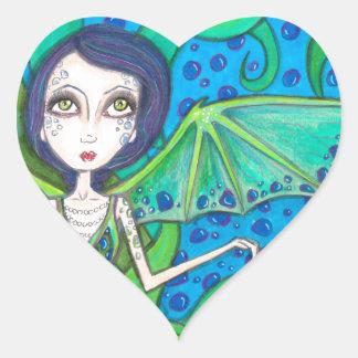 Octo de la sirena pegatina en forma de corazón