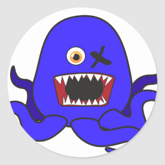 Octo-Monster in blue Classic Round Sticker